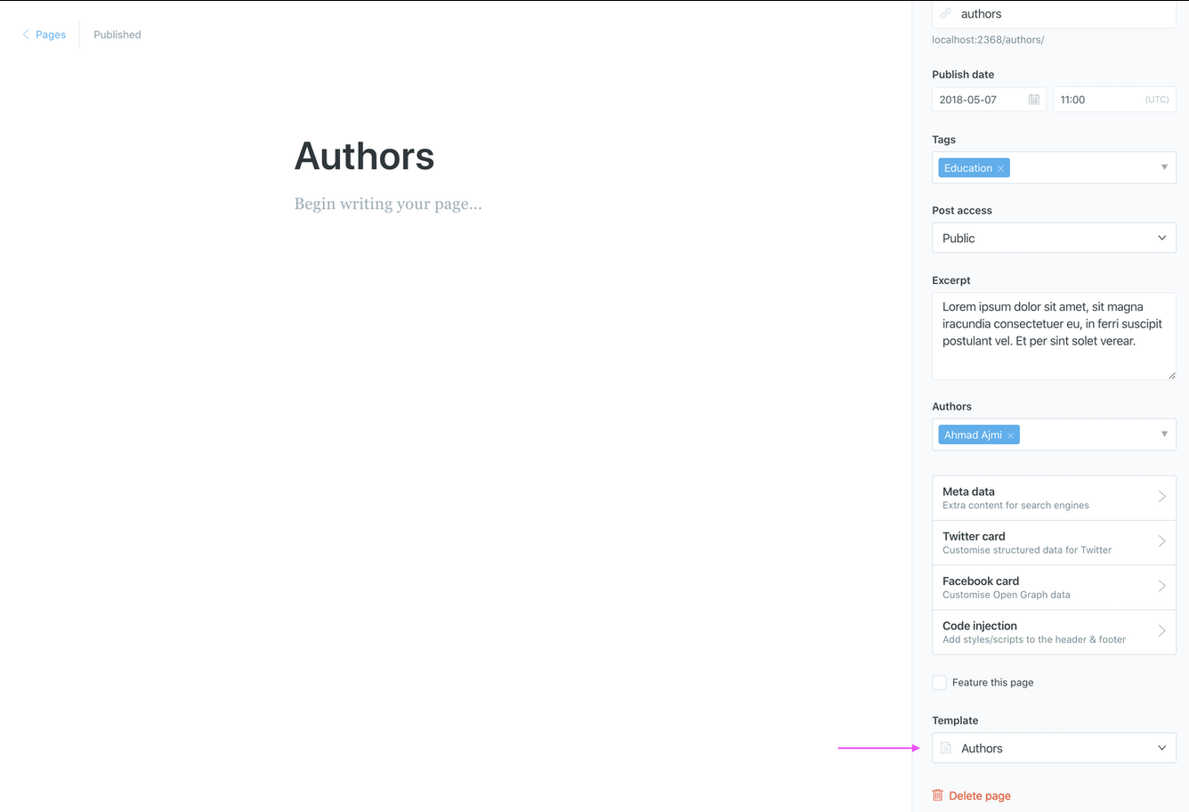 Create the Authors Static Page