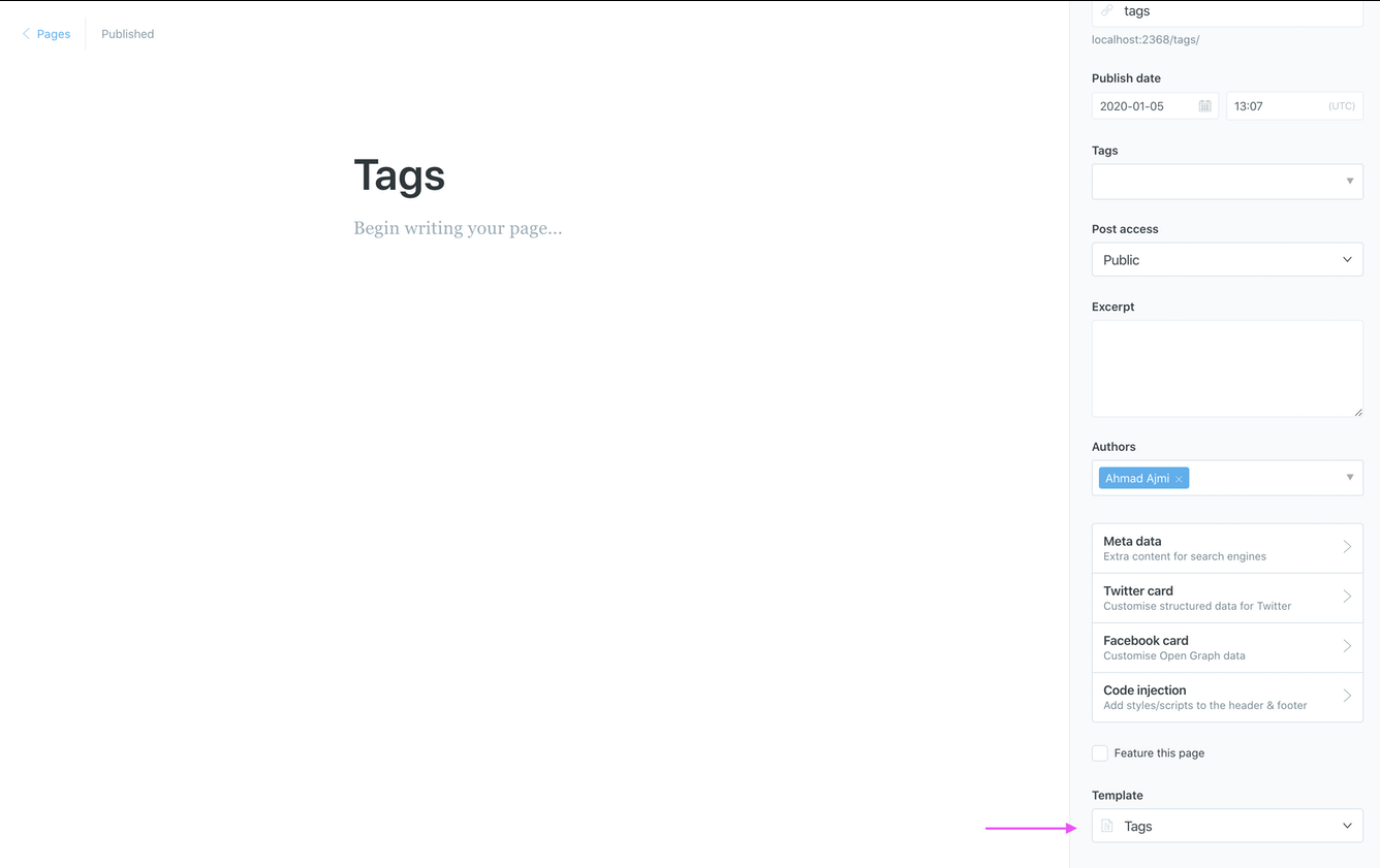 Create the Tags Static Page